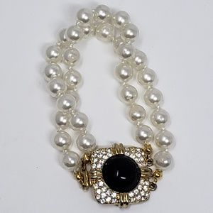 Joan Rivers faux pearl black cab bracelet